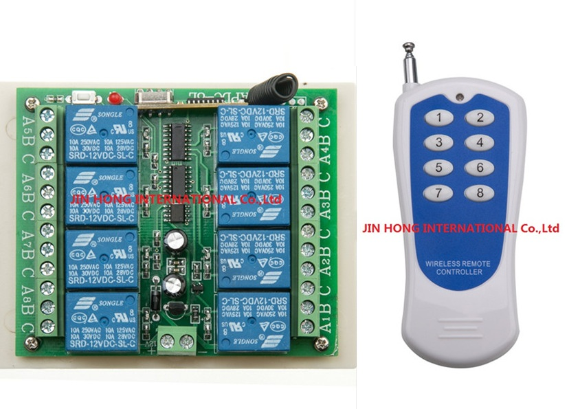 12V 8 CH channel RF Wireless Remote Control Switch & Remote Control System receiver transmitter 315/433 8CH Relay NC NO COM 12v 8 ch channel rf wireless remote control switch