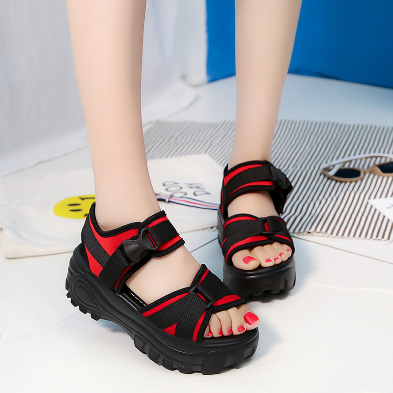 SHUJIN Casual Sandals  Rise  Flat Wild Breathable Shoes Women 2019 Torridity Wedges Sandals Fashion Sapato Feminino