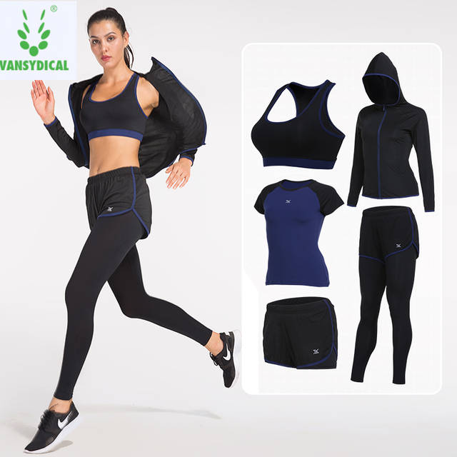 0062fa97ef268 Vansydical 2019 Sports Suits Women s Gym Yoga Set Running Tights Sportswear  Quick Dry Fitness Workout Clothes