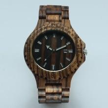 Зебрано Смотреть Мужчины Зебры Дерева Часы Японский Miyota Движение Наручные Часы Деревянные Человек Наручные Часы