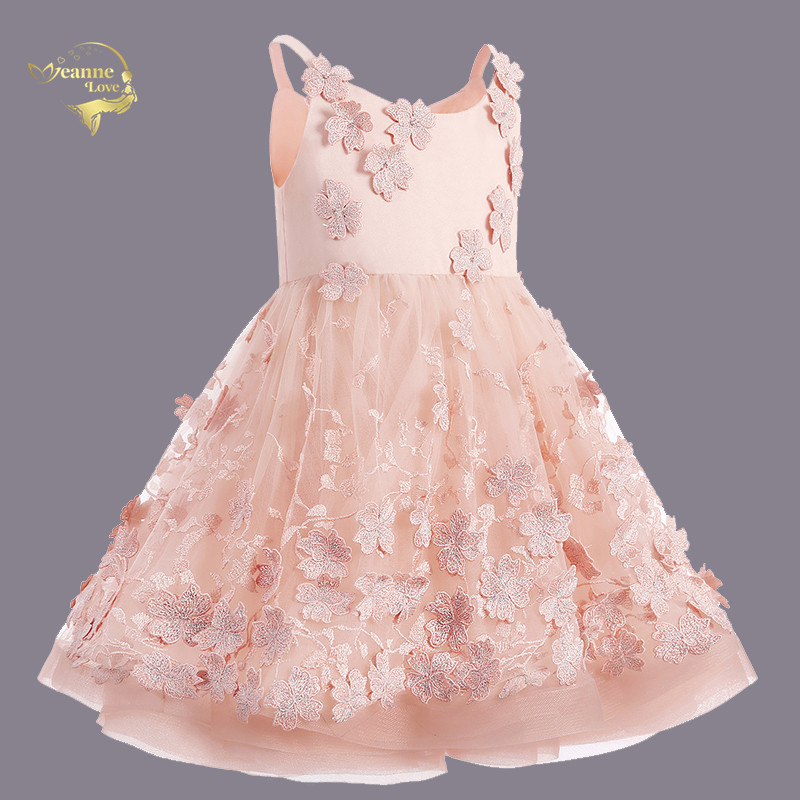 Nude Pink Little Girls Short Party Dresses Spaghetti Straps Knee Length Toddler Pageant Dresses robe petite fille mariage