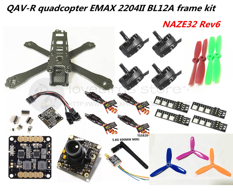 FPV mini drone DIY QAV-R 220/260 quadcopter pure carbon 4x2 frame kit NAZE32 Rev6+EMAX cooling 2204II + EMAX BL12A ESC + camera carbon fiber frame diy rc plane mini drone fpv 220mm quadcopter for qav r 220 f3 6dof flight controller rs2205 2300kv motor
