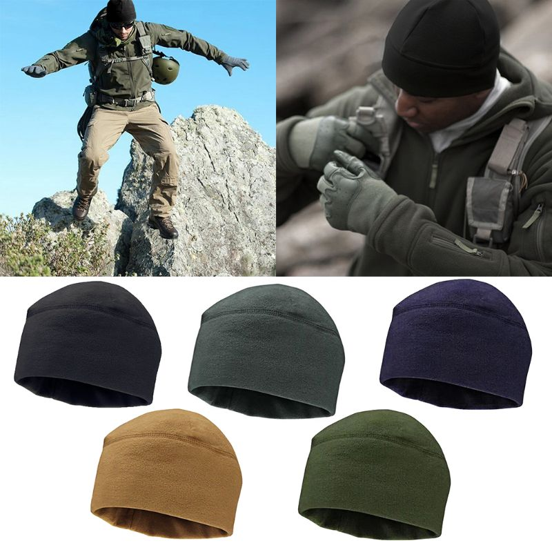 New Men Women Unisex Winter Solid Color Soft Warm Cap Polar Fleece Thickened Military Army Beanie Hat Windproof Outdoor Hat