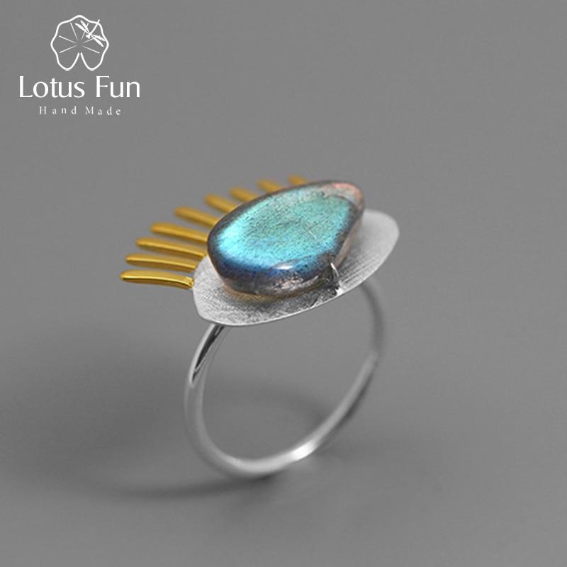 Lotus Fun Real 925 Sterling Silver Natural Labradorite Fine  Jewelry Adjustable Ring Interesting Golden Eyelashes Ring For Women