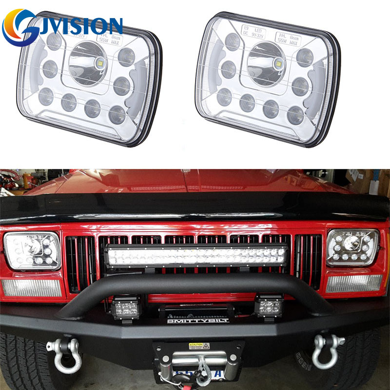 5x7 led headlights High Low Beam with Angel eyes DRL for Jeep Wrangler YJ Cherokee XJ H6054 H5054 H6054LL 69822 6052 6053 (6X7) 5 x7 6 x7 high low beam led headlights for jeep wrangler yj cherokee xj h6054 h5054 h6054ll 69822 6052 6053 with angel eye