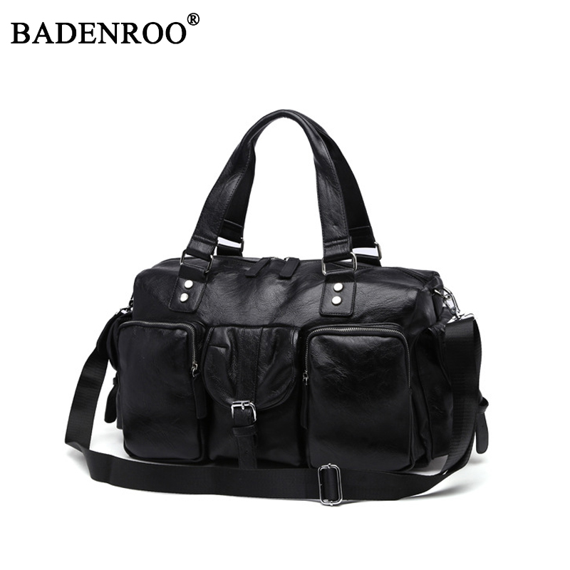 New style soft PU Leather Travel handbags male High quality Large capacity Young Fashion Travel bags