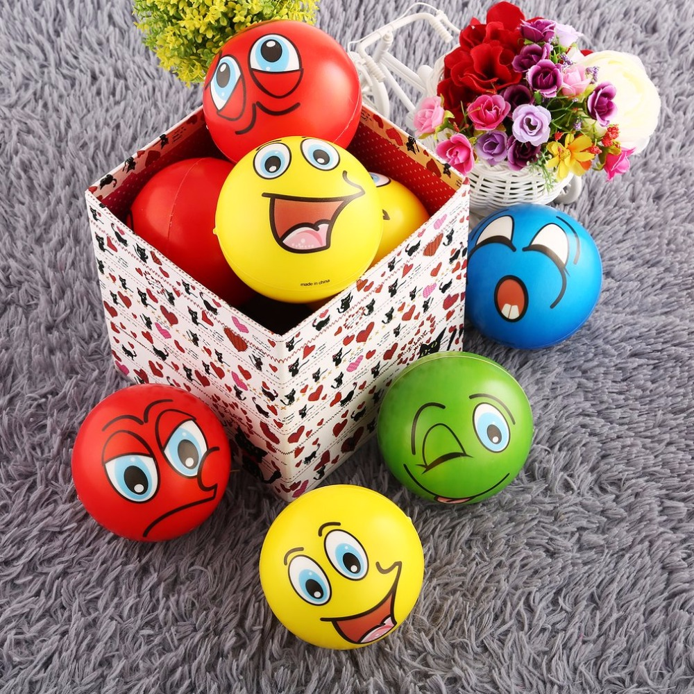 12PCS Facial Expression Anti-stress  Foam Balls Hand Strength Squeeze Ball Children Adult Hand Exercise Toys Squishie Balls Gift