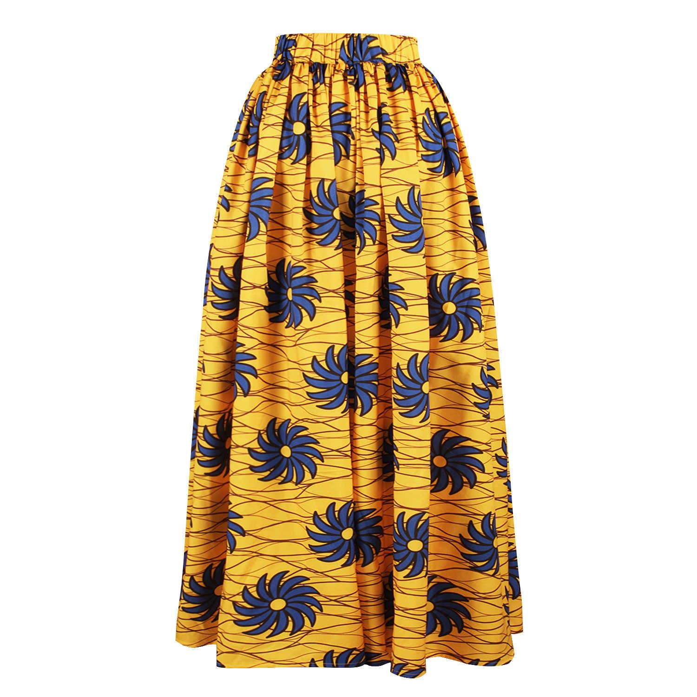Kadınlar Maxi afrika etekler Ankara hint Dashiki altın afrika giysi moda giyim bayanlar uzun etek 2019 yeni stil