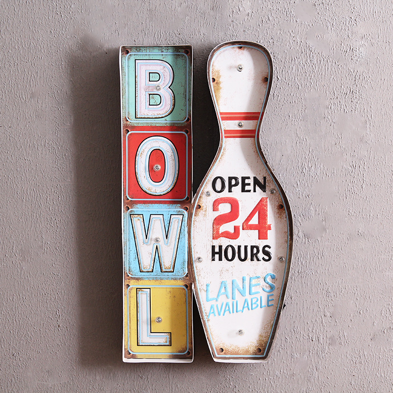Retro Industrial Style Bowling Welcome Sign Wall Decorations LED Lights Wrought Iron Murals Home Bar Iron Painting IY304125-31 led080 r walk ins welcome led neon sign whiteboard