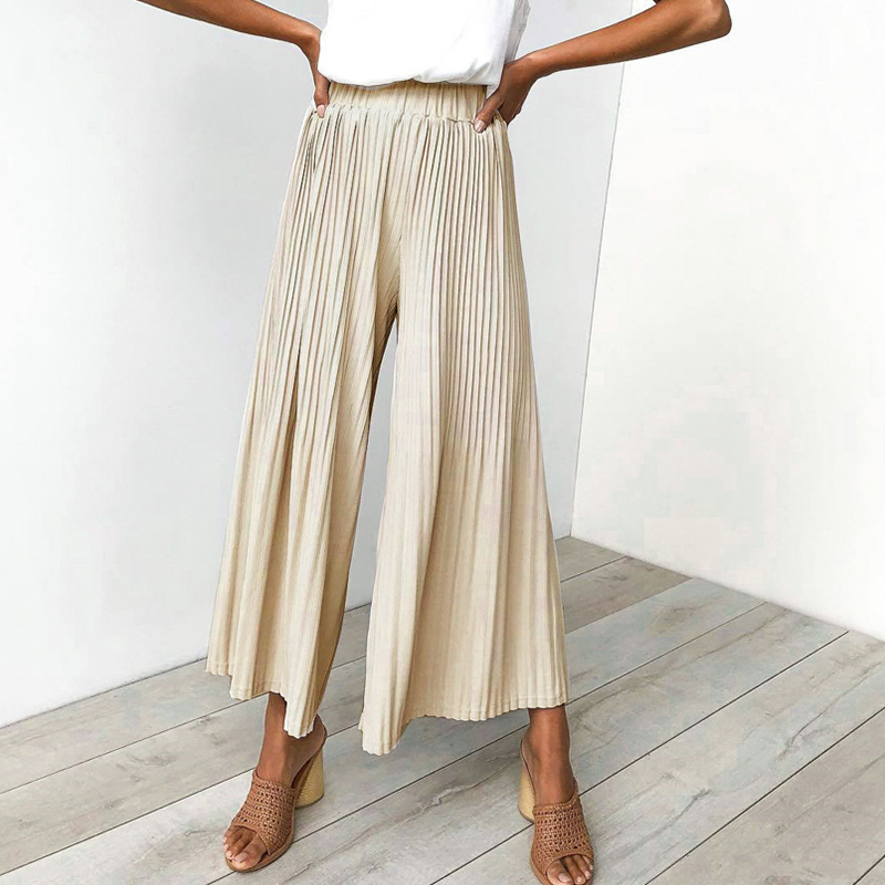 Melegant New Wide Leg Loose Summer   Pants   Women 2019 Casual Stripe High Waist Stylish Boho   Pants   Solid Long   Pants     Capris