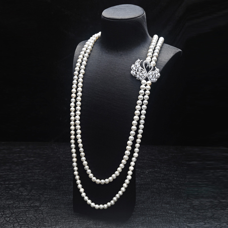 design double swan white freshwater pearl long sweater chain necklace fashion jewelry