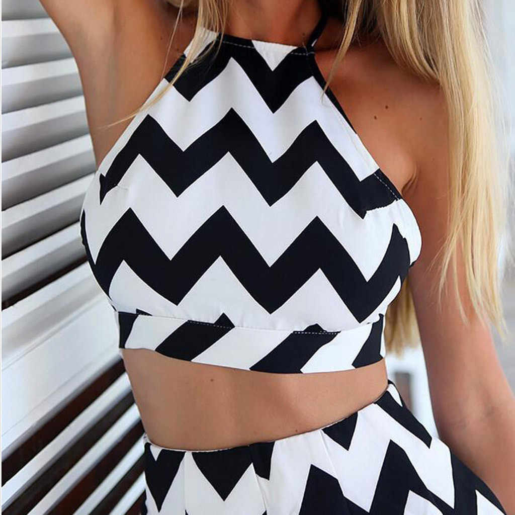 Wanita Musim Panas Dua Sepotong Set Halter Crop Top + Celana Pendek Dua Potong Backless Tanaman Top Hot Celana Set Seksi Tanpa Lengan suit #614