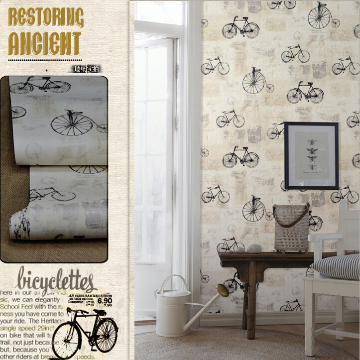 ФОТО vintage bicycle  wallpaper for wall roll 10m waterproof washable wall paper for boy room papel de parede infantil de menina