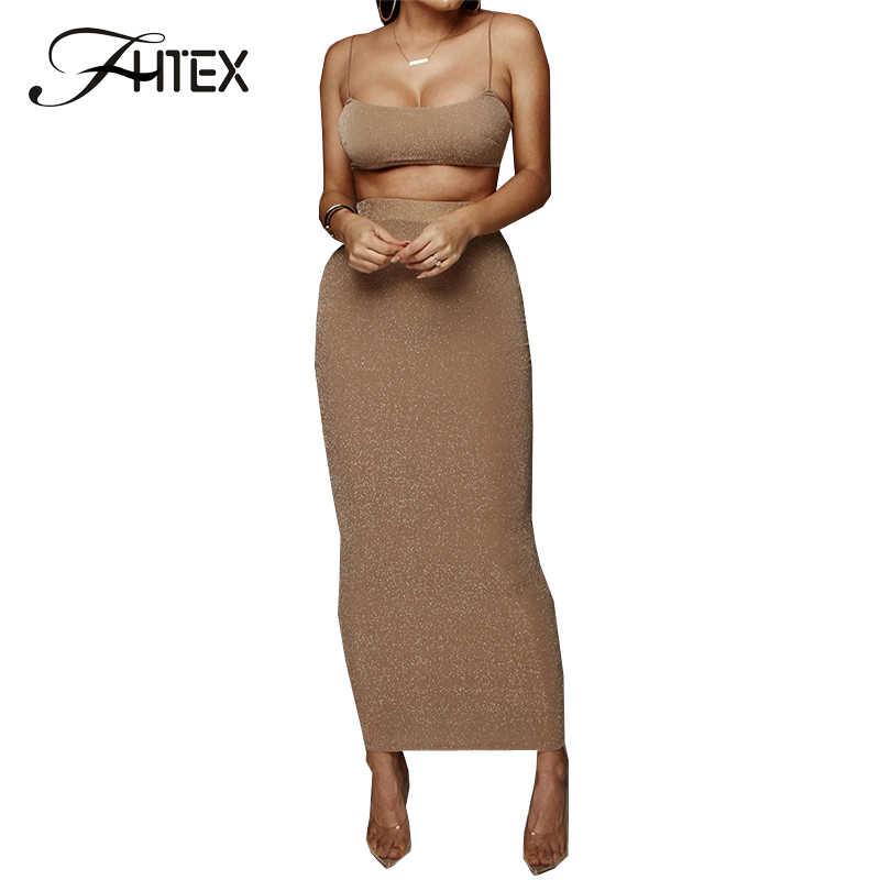FHTEX Glitter Shrug Top and High Waist Pencil Skirt Suit Slim Fit Bodycon Long Skirt 2 Piece Set Sexy Tight Pencil Maxi Skirts