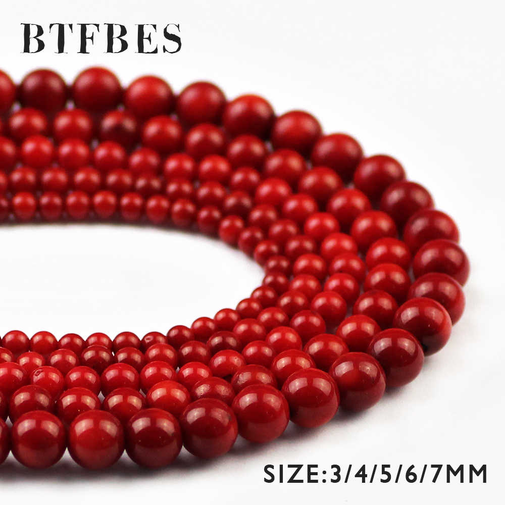 BTFBES Natural Red Coral Stone Red Beads 3 4 5 6 7mm Ball Round Loose Beads For Jewelry Bracelet Earrings Accessories Making DIY