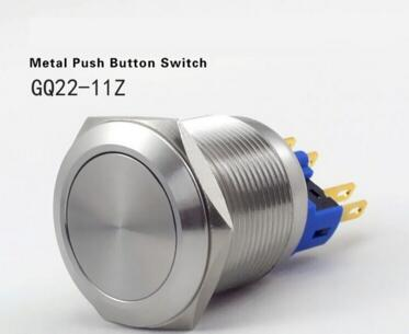 22mm stainless steel latching push button switch anti vandal GQ22 11Z S