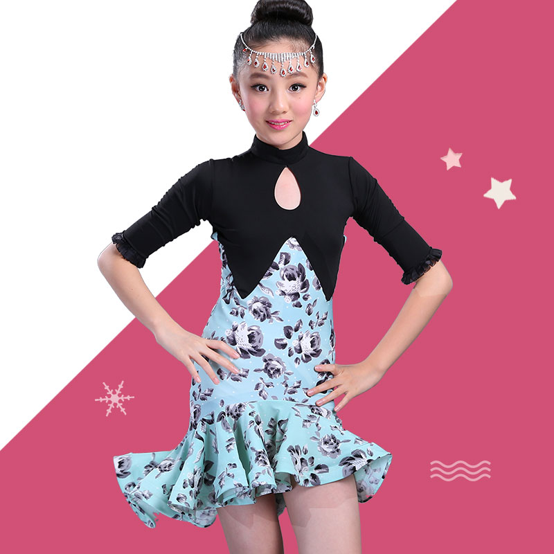 Children Girl Latin Dress Fishtail Pleated Skirt Latin Competition Practice Clothes Ballroom Costumes Dancewear Party Skirt