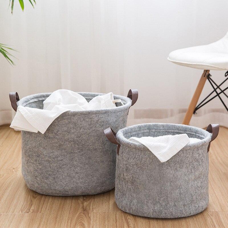 Cute Animal Collapsible Toy Storage Organizer Folding: Round Felt Cloth Storage Basket Household Clothes Laundry
