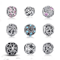 9 Style 925 Sterling Silver Beads Charms Flower Heart Bead Fit Original Pandora Charms Bracelet Bangle