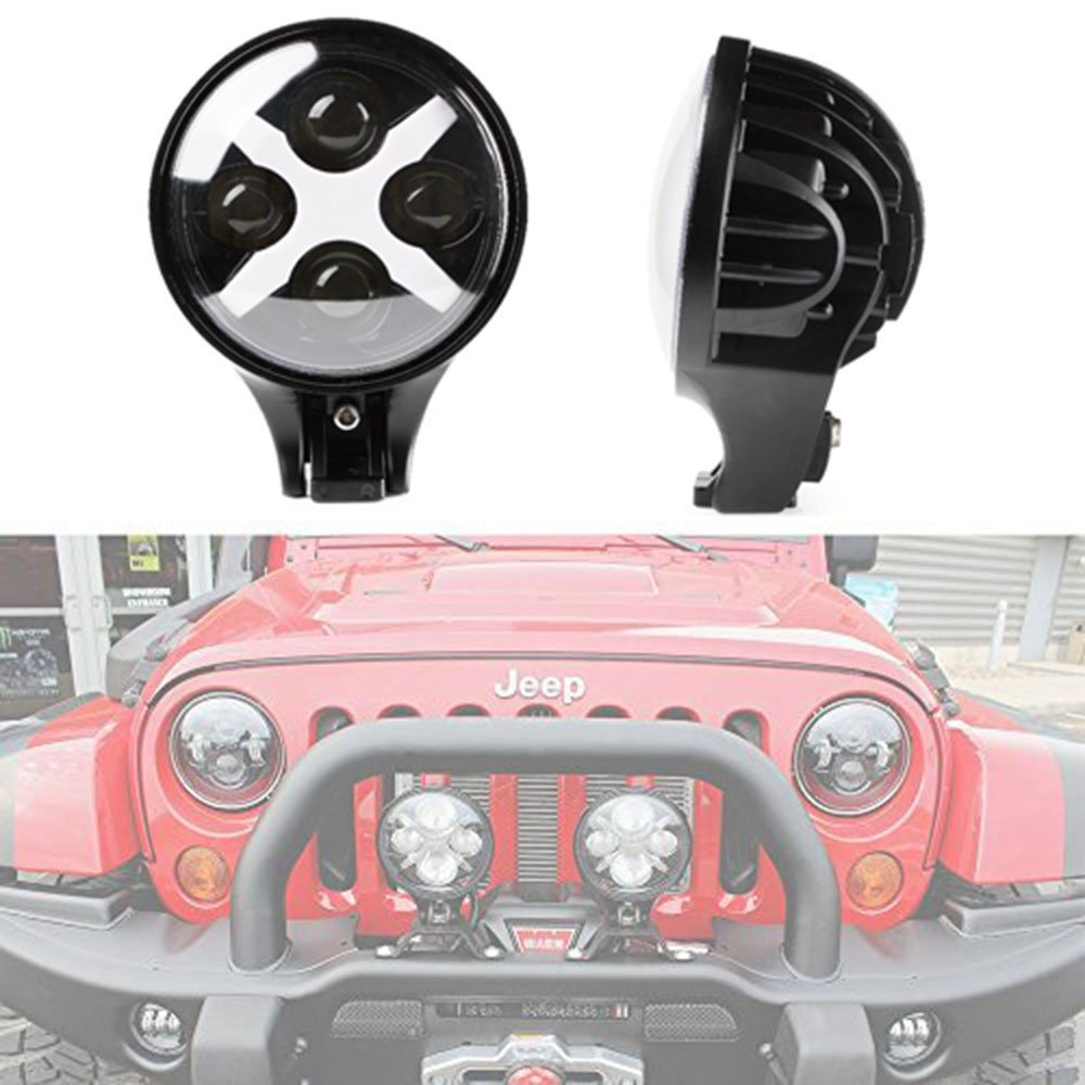 """Pair 6/""""Inch 60W Round LED Work Fog Head Lights X DRL Amber Spot Offroad For Jeep"""
