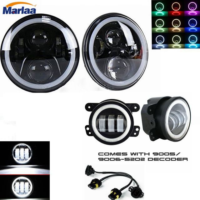 2X7 inch LED Projector Headlights with Multicolor RGB Halo Angle Eye+ 2X30W 4 inch Led Fog Light Driving Lamp For Jeep Wrangler