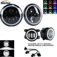 2X7 inch LLEVÓ el Proyector Faros con Multicolor RGB Halo Ojo Del Ángulo + 2X30 W 4 pulgadas Led Luz de Niebla de Conducción de La Lámpara Para Jeep Wrangler