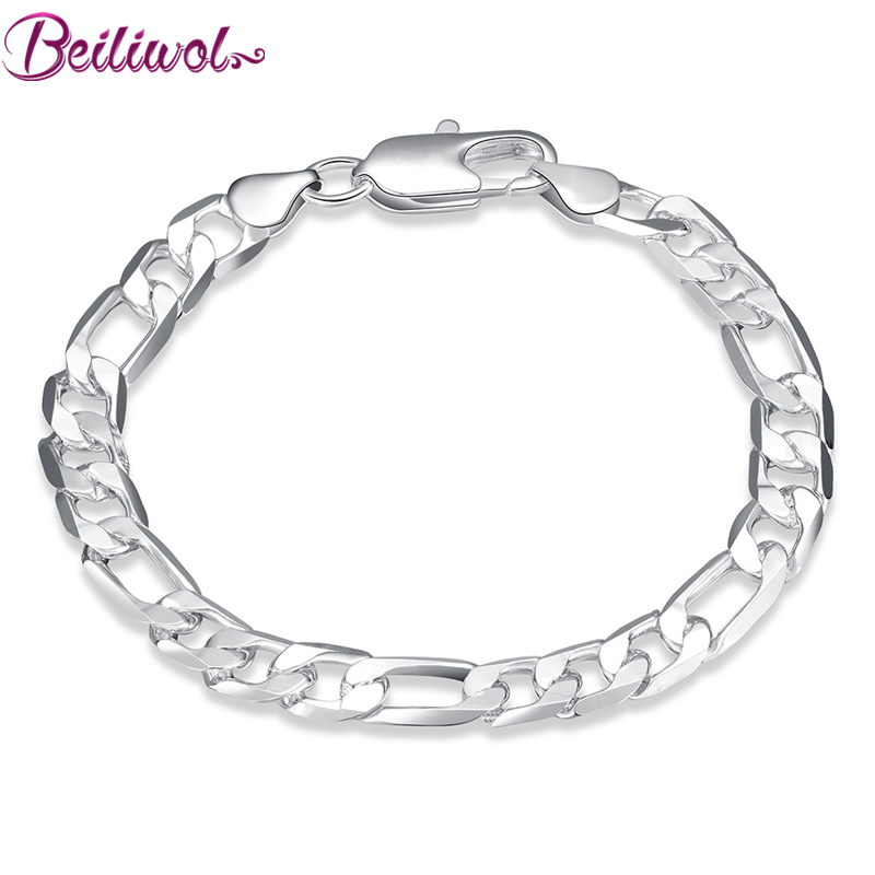 Beiliwol Silver Color Mens Fashion Bangle 8 inches Figaro Chain Bracelet Jewelry fot Men ...