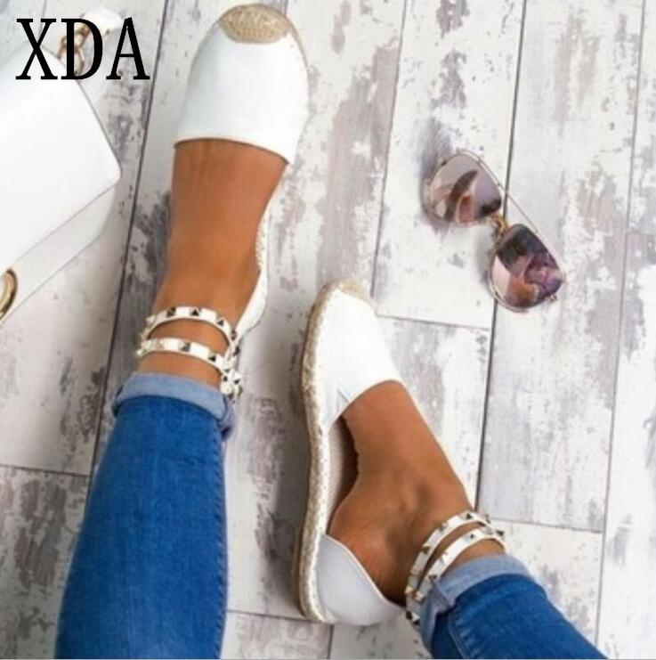 XDA 2019 Women Sandals Fashion open-toe Summer Shoes Woman Faux Suede Flat Sandals Size 35-43 Casual Shoes Woman Sandals girl shoes in sri lanka