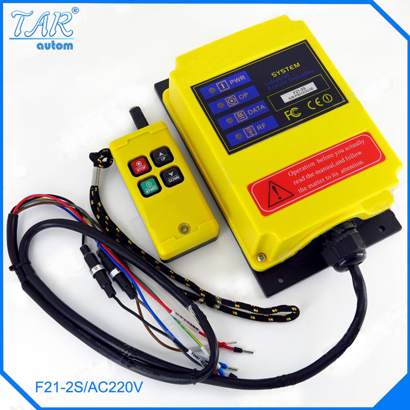 220V AC Industrial remote controller Hoist Crane Control Lift Crane 1 transmitter + 1 receiver nice uting ce fcc industrial wireless radio double speed f21 4d remote control 1 transmitter 1 receiver for crane