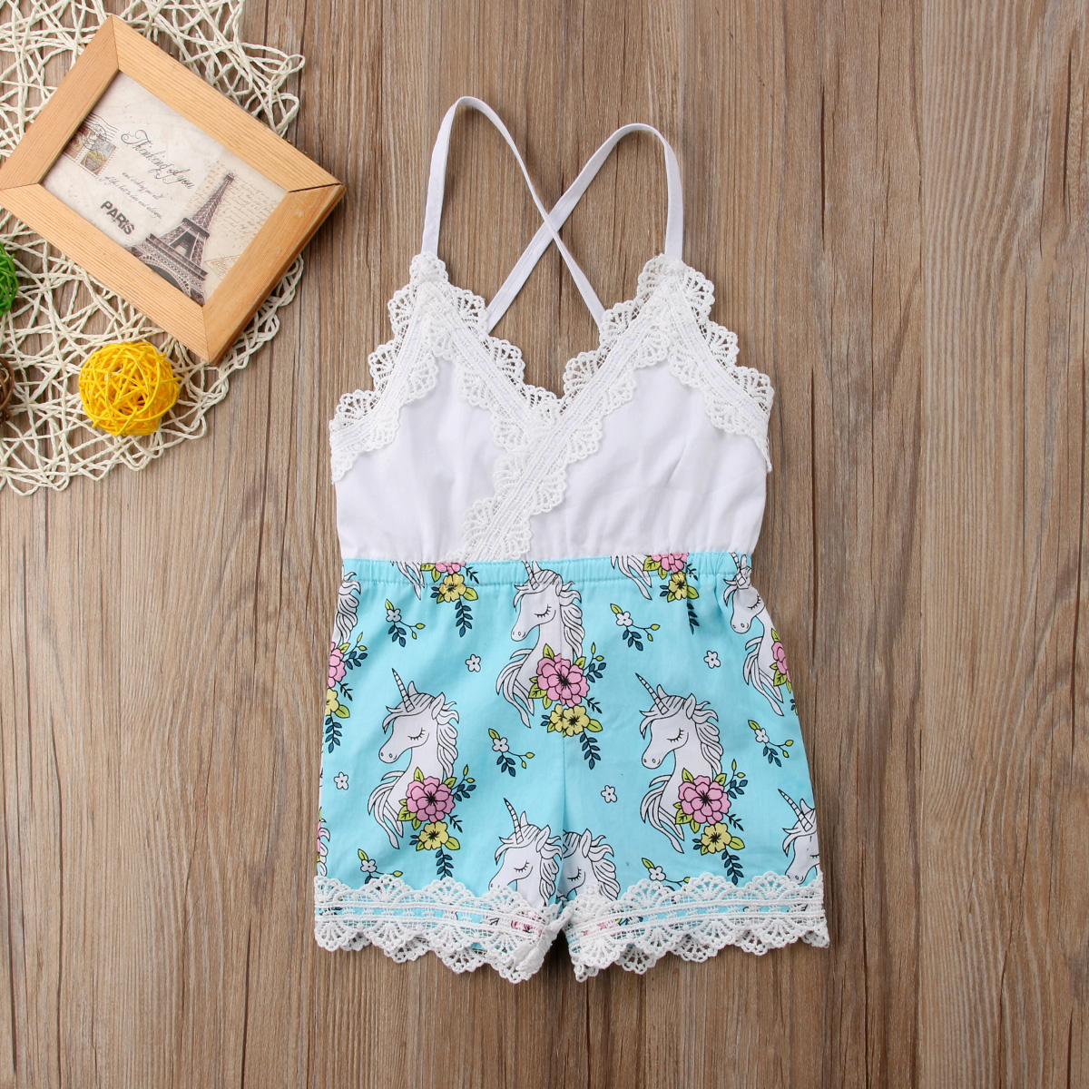 Newborn Baby Girls Lace Cartoon Horse Romper Jumpsuit Outfits Clothes Sunsuit Sleeveless Belt Cotton Romper Clothing