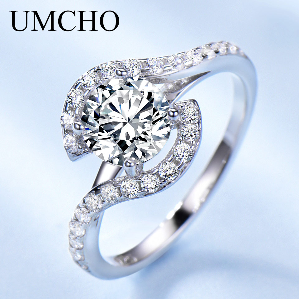 UMCHO Solid 925 Sterling Silver Bridal Cubic Zircon Rings For Women Solitaire Engagement  Wedding Band Party Brand Fine Jewelry