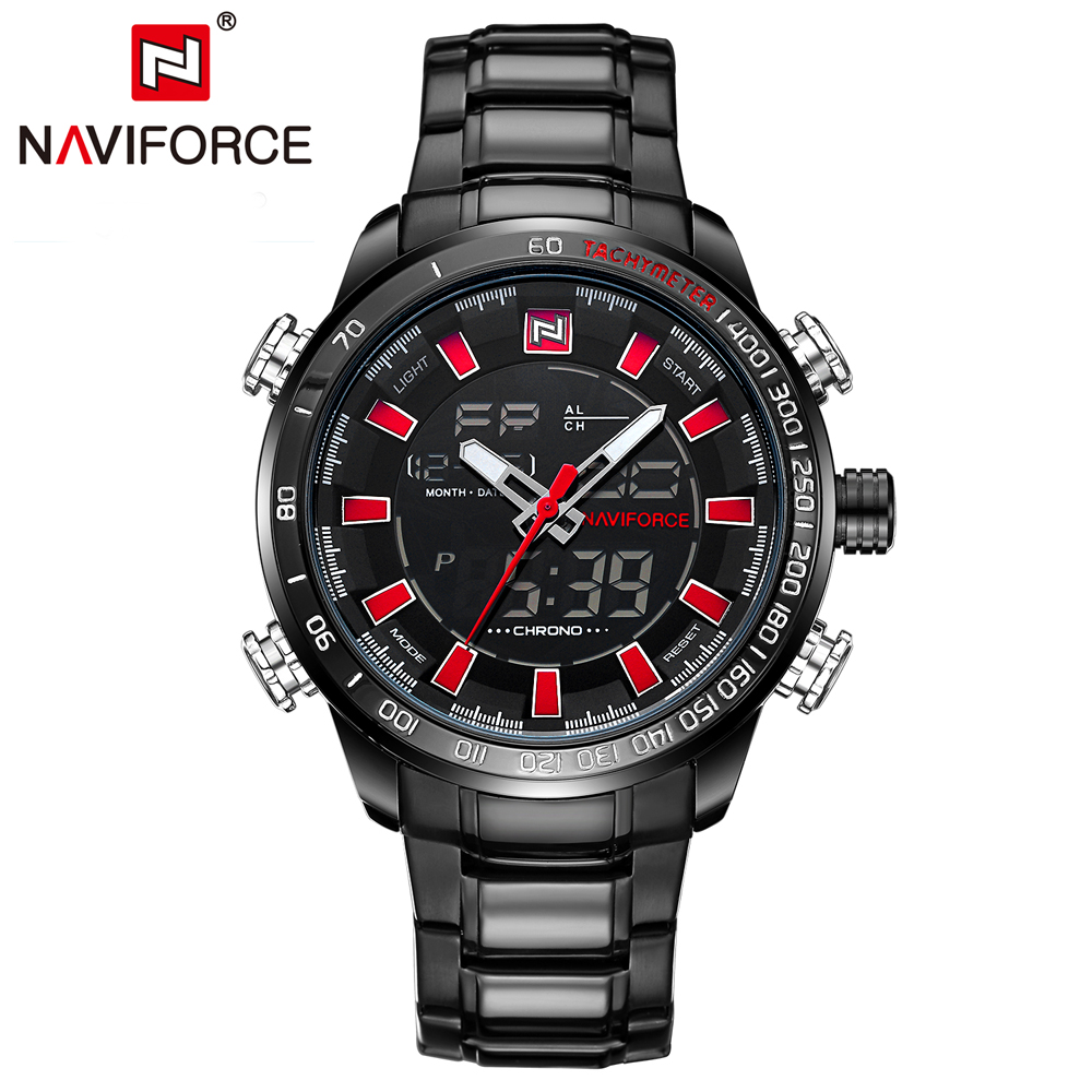 NAVIFORCE Mens Quartz Analog Watch Luxury Fashion LED Sport Wristwatch Waterproof Stainless Male Watches Clock Relogio Masculino 17