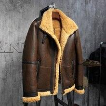 Men's Shearling Jacket B3 Flight Jacket Short Fur Leather Jacket Imported Wool From Australia  Mans Sheepskin Aviator Fur Coat