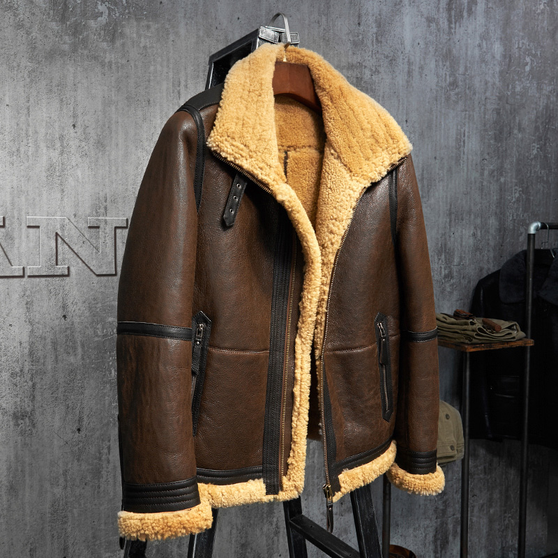 Men s Shearling Jacket B3 Flight Jacket Short Fur Leather Jacket Imported Wool From Australia Mans