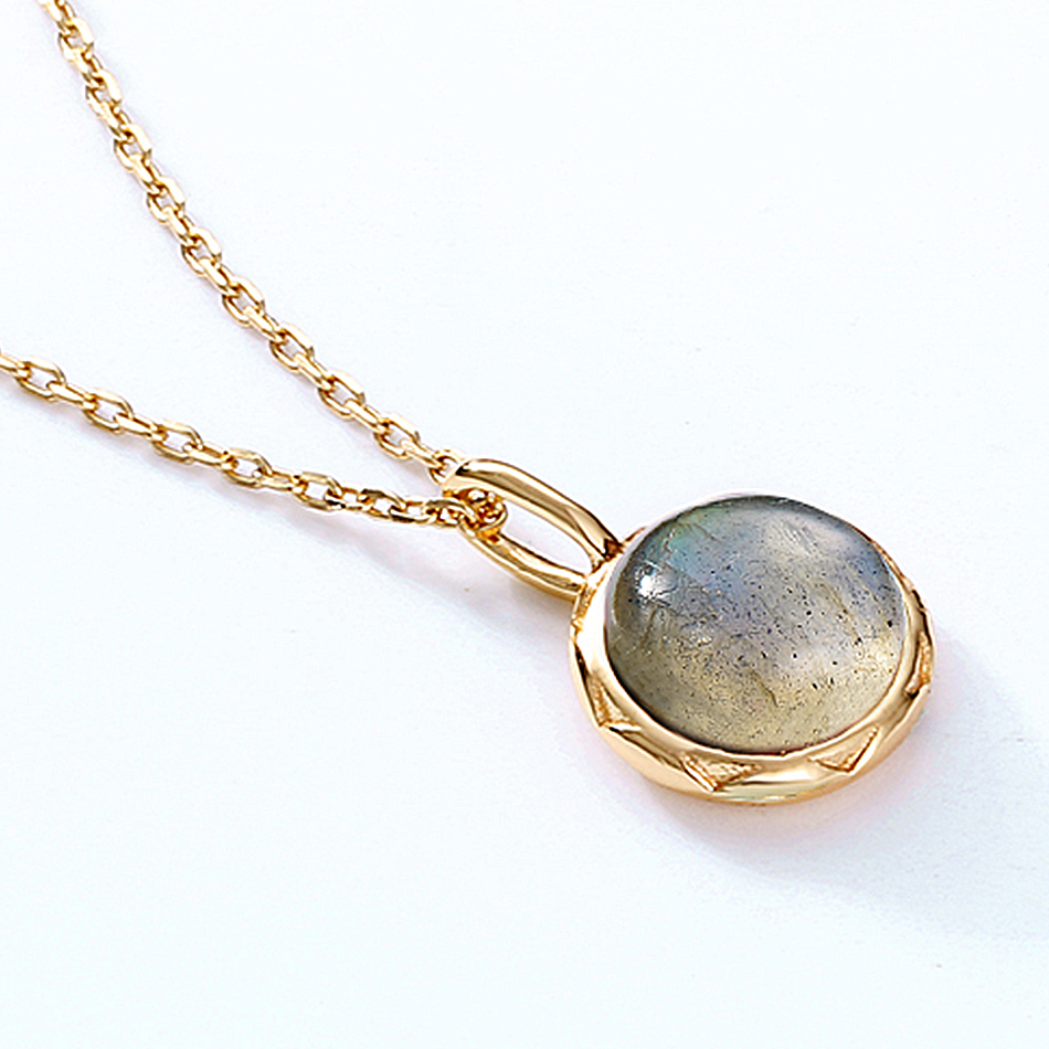 ALLNOEL Real Labradorite Pendants Necklace For Women Solid 925 Sterling Silver Round Gemstone Jewerly Engagement Wedding New (4)
