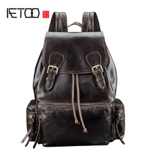 цены AETOO New leather backpack fashion casual retro soft cover oil wax leather casual men and women backpack
