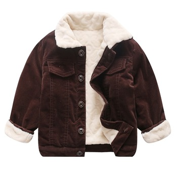 winter children thick jackets kids clothing long sleeve turn-down collar pure color velvet new version corduroy boys girls
