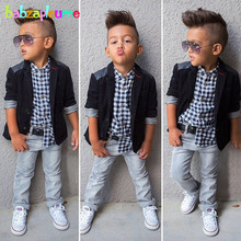 3Piece/2-8Years/Spring Autumn Children Clothing Sets Casual Fashion Plaid Shirt+Jacket+Pants Kids Clothes Baby Boys Suits BC1107