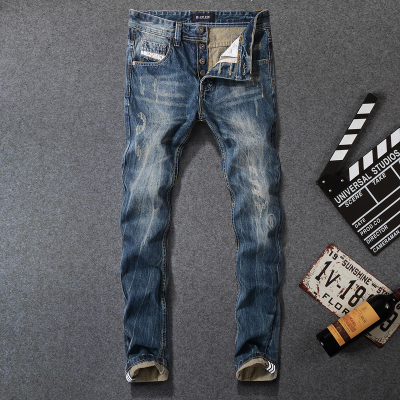 2018 Newly Vintage Designer Mens Jeans High Quality Dark Blue Color Straight Fit 100% Cotton Ripped Jeans Men Classical Jeans