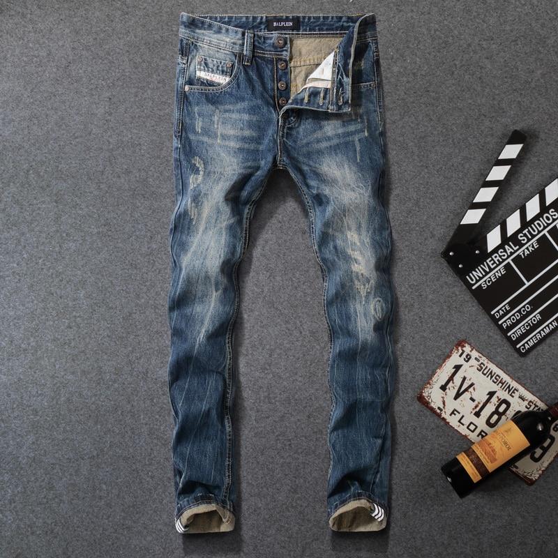 Vintage Classical Men Jeans High Quality Dark Blue Straight Fit 100% Cotton Ripped Jeans For Men Hip Hop Pants Hombre Size 29-40