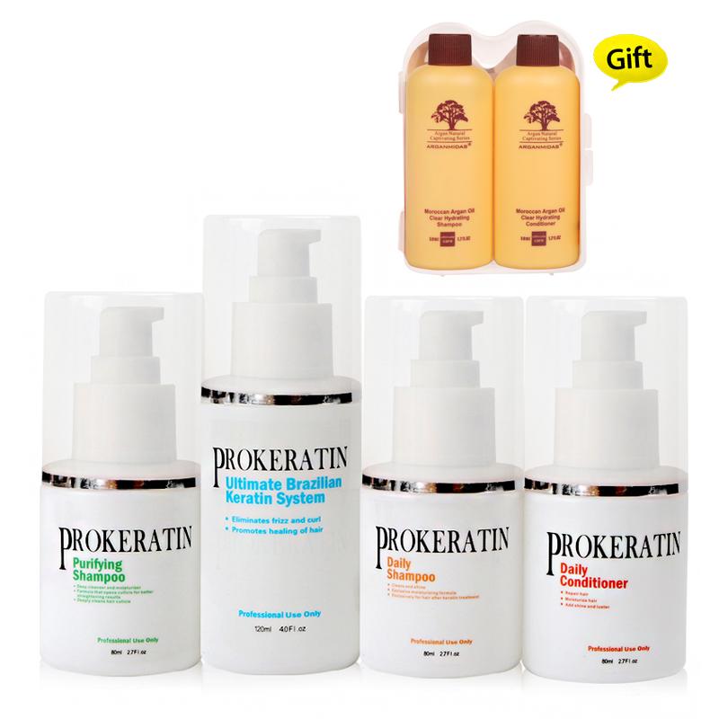 Hot Sale 5pcs /set 5% Brazilian Keratin Treatment+Purifying Shampoo+Daily Shampoo and Conditioner + Free Small Travel Kit Gifts christmas gifts mini chocolate 5% formaldehyde keratin treatment keratin purifying shampoo for diy at home