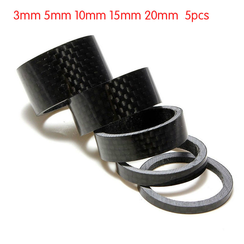 1/5PCS full carbon fiber bicycle carbon spacer hollow Ultra light headset parts cycling Washer Bike Bicycle Headset Stem Spacers(China)
