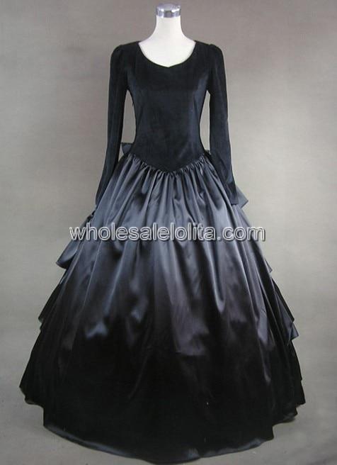 Черное многослойное платье в готическом стиле с бантом - Цвет: Черный