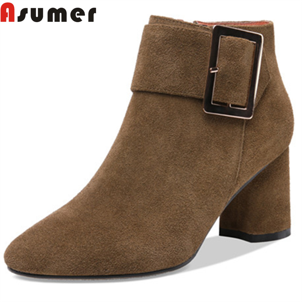ASUMER 2018 fashion autumn winter boots women round toe zip suede leather high heels shoes woman square heel ankle boots enmayla fashion front zipper ankle boots women chucky heels square toe high heels shoes woman black yellow suede autumn boots