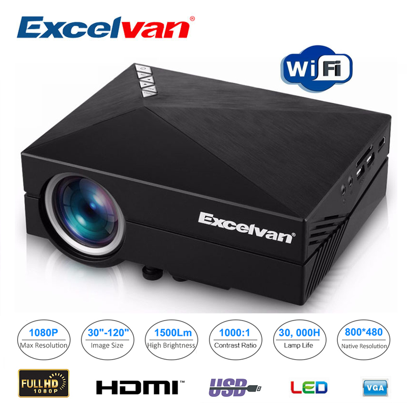 Excelvan gm60a portable home projector 800 480 1500lumens for Portable projector with usb input