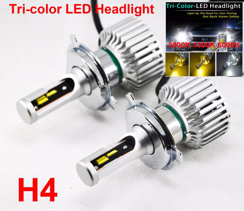 1 Set H1 H4 H7 H11 9005 6 9012 60W 8000LM Tri color LED Headlight Golden