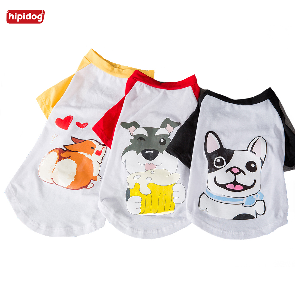 Hipidog Cartoon Dog Printed T-Shirt Spring Summer Pet Dog Clothes Dog Shirts Only For Bulldog Corgi Schnauzer Small Dogs Costume