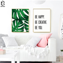 Fresh Tropical Palm Quotes Scandivanian Poster Wall Art Canvas Painting Modern Minimalist Leaf Print Living Room Home Decoration