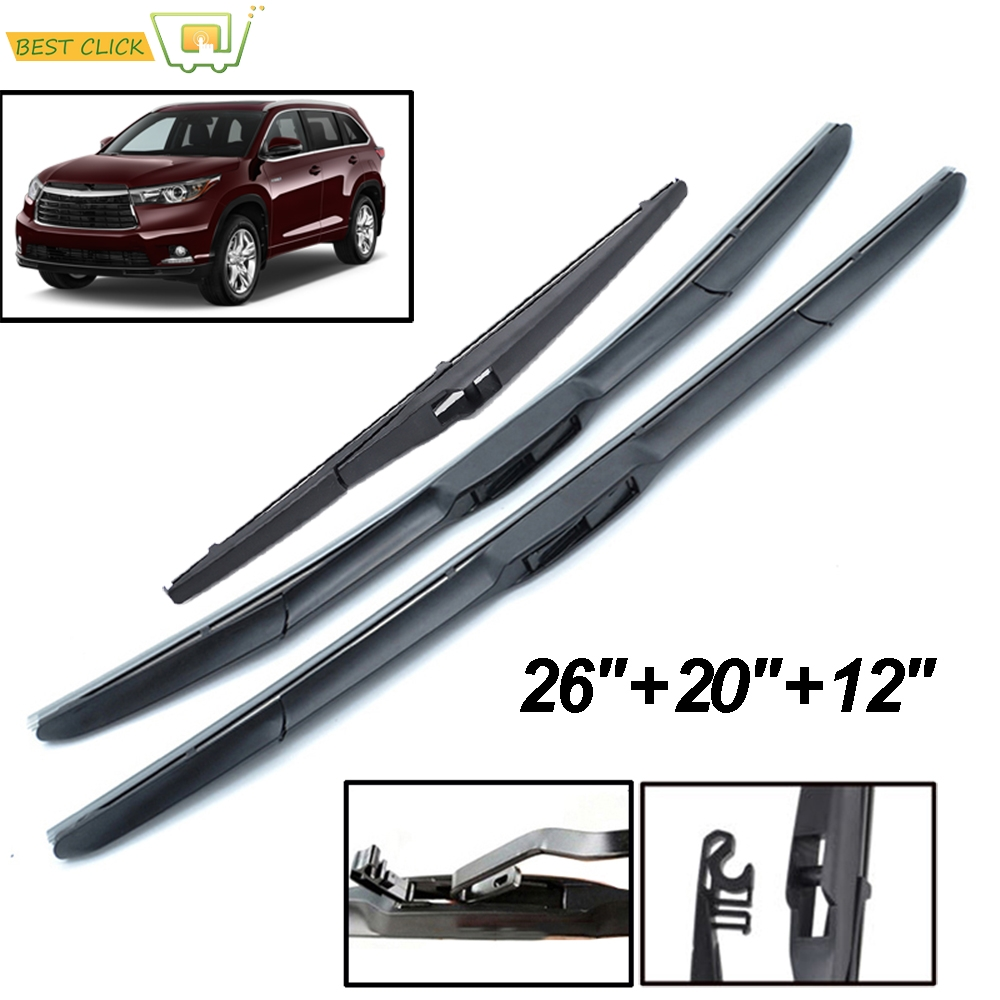 Limpiaparabrisas Misima Blades para Toyota Highlander Kluger XU40 XU50 ventana trasera delantera 2019 2018 2017 2016 2015 2014 2013 2012