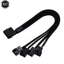Hot koop Black Mouwen 4pin IDE Molex om 4 Port 3Pin/4Pin Koeler Koelventilator Splitter Voedingskabel Milieu Connector kabels